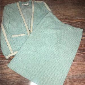 Vintage Castleberry Seafoam Green Tweed Skirt Suit